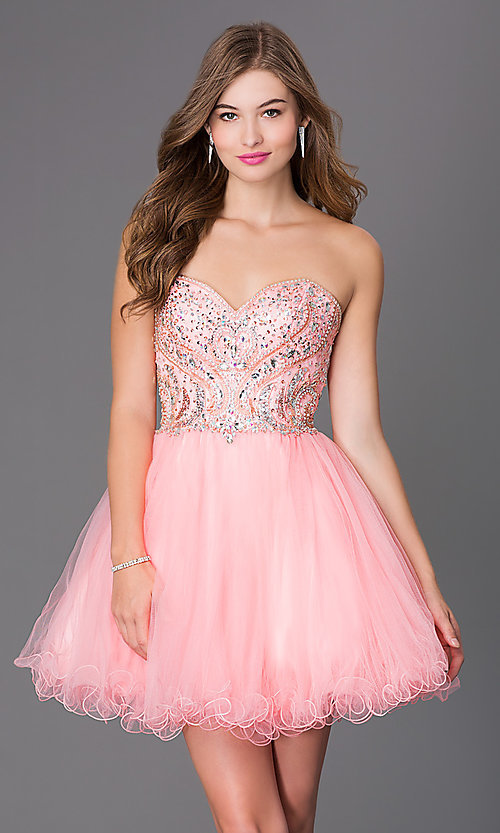 Image of short strapless corset babydoll homecoming dress. Style: JT-751 Detail Image 1