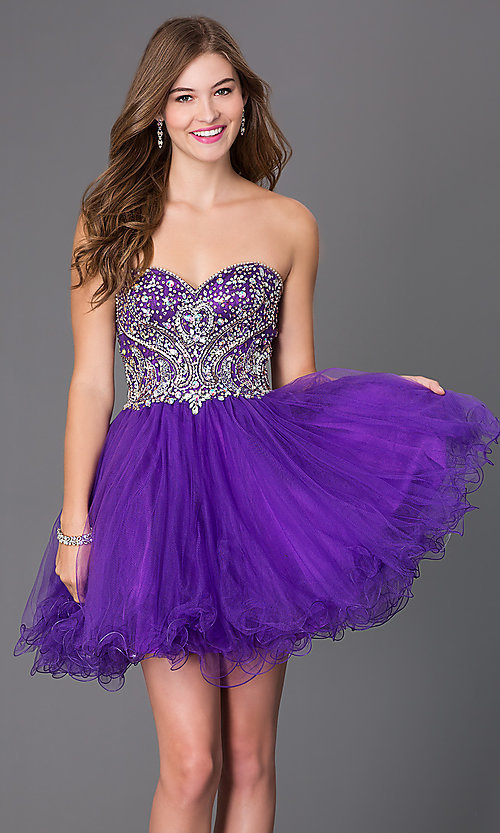 Image of short strapless corset babydoll homecoming dress. Style: JT-751 Detail Image 3