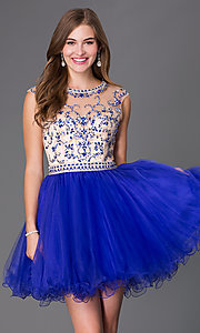 Beaded Open Back Short Fit and Flare Homecoming Dress