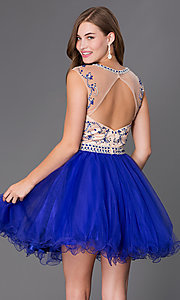 Image of Beaded Illusion Bodice A-Line Fit and Flare Dress with Open Back Style: JT-750 Back Image