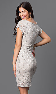Image of short v-neck cap-sleeve lace dress by Jump. Style: JU-48019i Back Image
