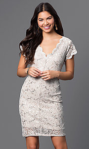 Image of short v-neck cap-sleeve lace dress by Jump. Style: JU-48019i Front Image