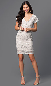 Image of short v-neck cap-sleeve lace dress by Jump. Style: JU-48019i Detail Image 2