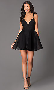 Image of short v-neck spaghetti strap fit and flare dress Style: LUX-LD1403 Detail Image 1