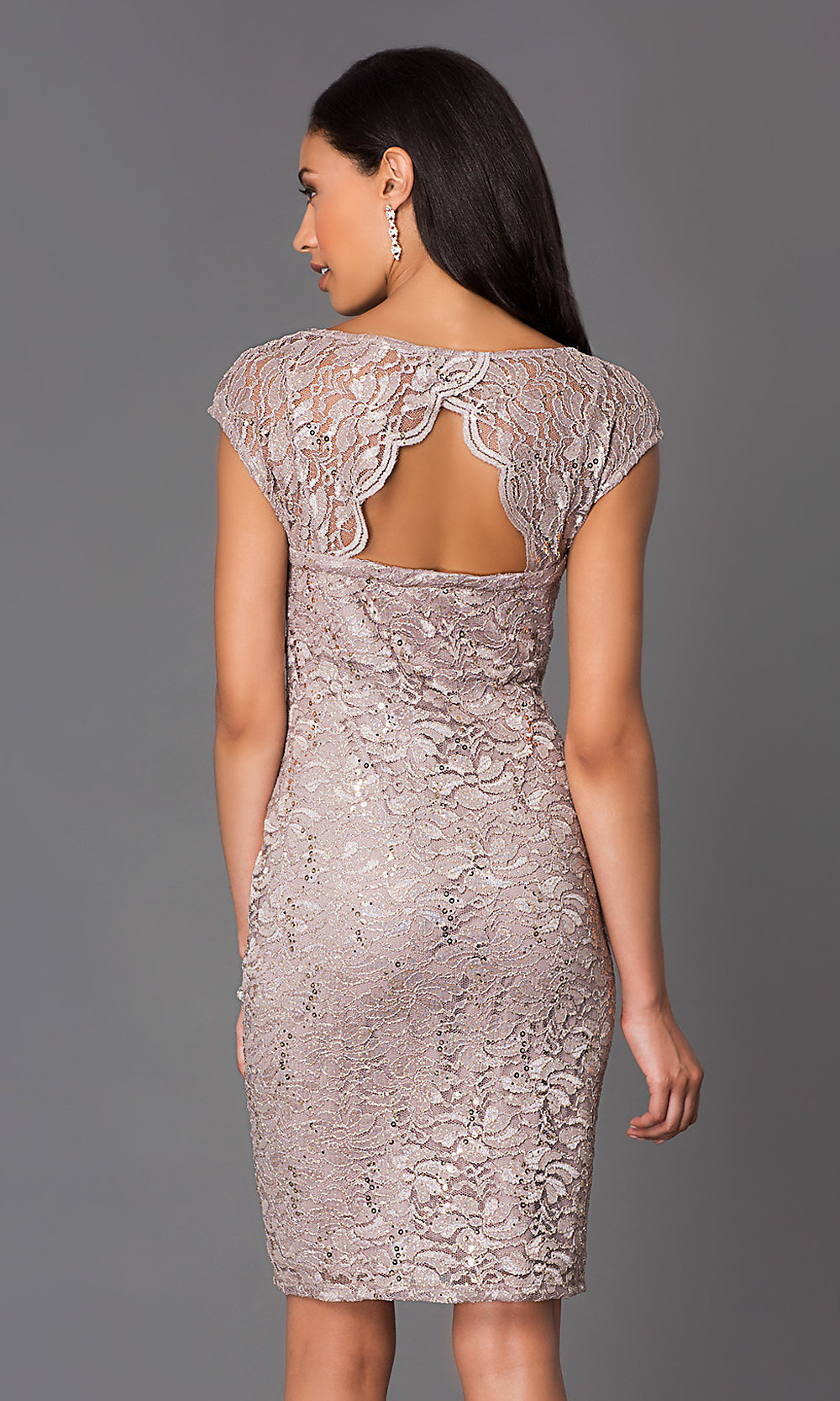 57d424db873f V-Neck Onyx Nite Lace Party Dress - PromGirl