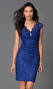 Image of v-neck lace party dress by Onyx Nite Style: JU-ON-644555 Detail Image 2
