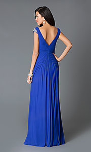 Image of ruched floor-length v-neck dress by JVN by Jovani. Style: JO-JVN-JVN27556 Back Image