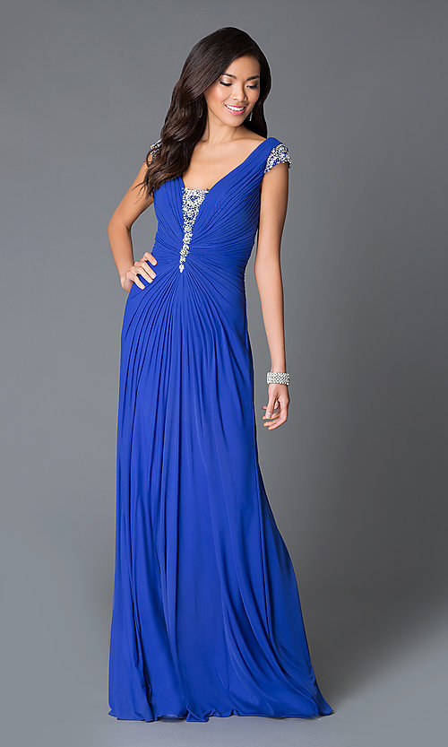 Image of ruched floor-length v-neck dress by JVN by Jovani. Style: JO-JVN-JVN27556 Front Image