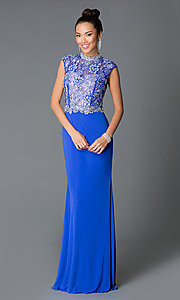 High-Neck Long Cap Sleeve Prom Dress