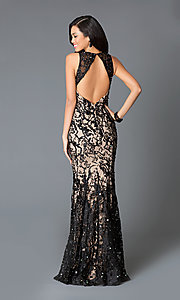 Image of long v-neck lace bead embroidered open back dress  Style: JO-JVN-JVN27623 Back Image