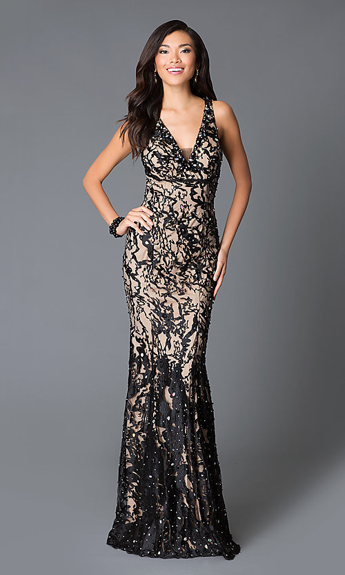 Image of long v-neck lace bead embroidered open back dress  Style: JO-JVN-JVN27623 Front Image