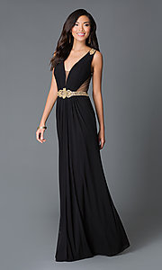 Long Sheer Back V-Neck Dress JVN by Jovani