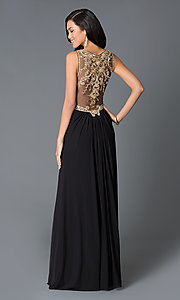 Image of long V-neck sheer back sleeveless dress Style: JO-JVN-JVN31410 Back Image
