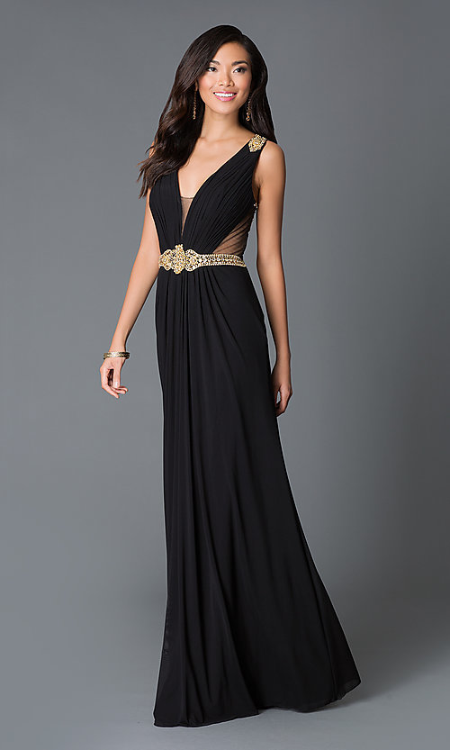 Image of long V-neck sheer back sleeveless dress Style: JO-JVN-JVN31410 Front Image