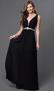 V-Neck Floor Length Dress by JVN by Jovani with Bead Embellished Sheer Back