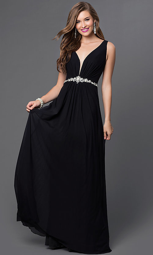 Image of floor length sleeveless v-neck dress Style: JO-JVN-JVN31415 Front Image
