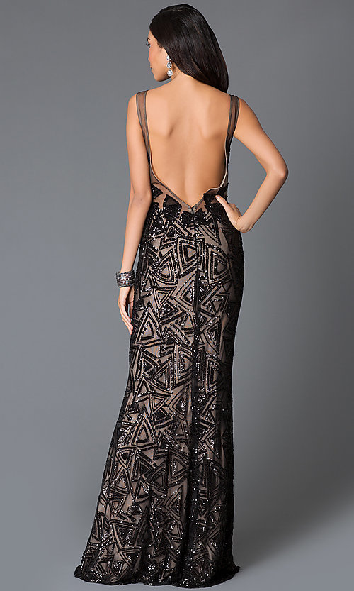Image of long sleeveless open back sequin dress Style: JO-JVN-JVN37558 Back Image
