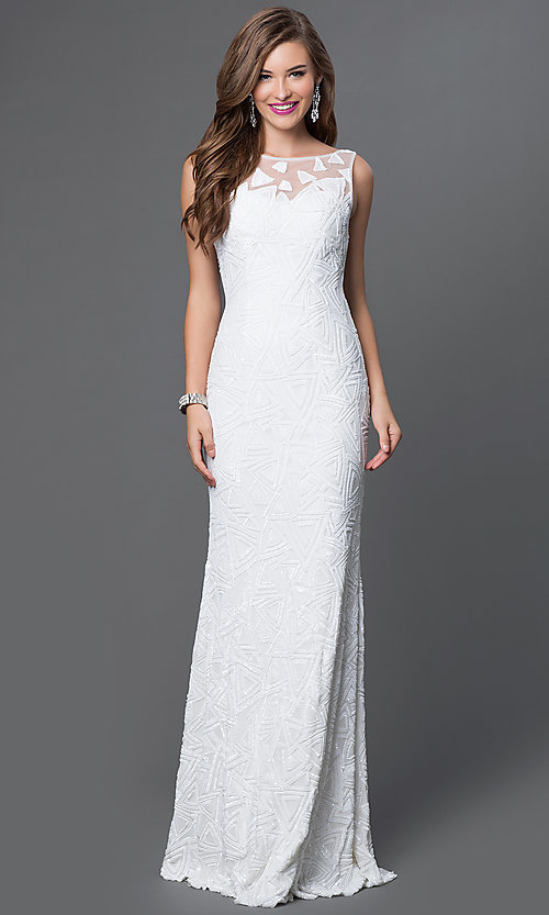 Image of long sleeveless open back sequin dress Style: JO-JVN-JVN37558 Front Image