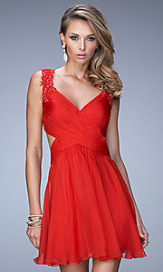 Image of short sleeveless V-neck open back party dress Style: LF-21834 Front Image
