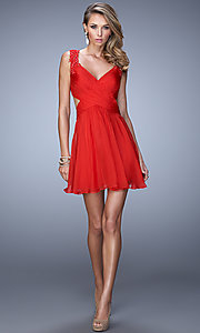 Image of short sleeveless V-neck open back party dress Style: LF-21834 Detail Image 1