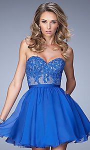 Short Blue Strapless Sweetheart Dress by La Femme