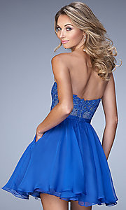 Image of short blue strapless sweetheart dress by La Femme. Style: LF-22049 Back Image