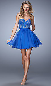 Image of short blue strapless sweetheart dress by La Femme. Style: LF-22049 Detail Image 1