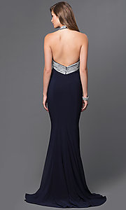 Image of rhinestone embellished empire waist long sleeveless dress Style: JO-JVN-JVN33932 Back Image