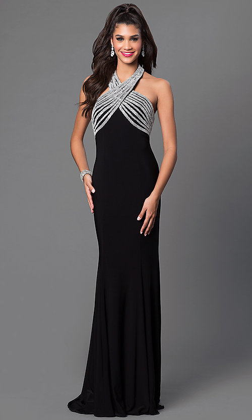 Image of rhinestone embellished empire waist long sleeveless dress Style: JO-JVN-JVN33932 Front Image
