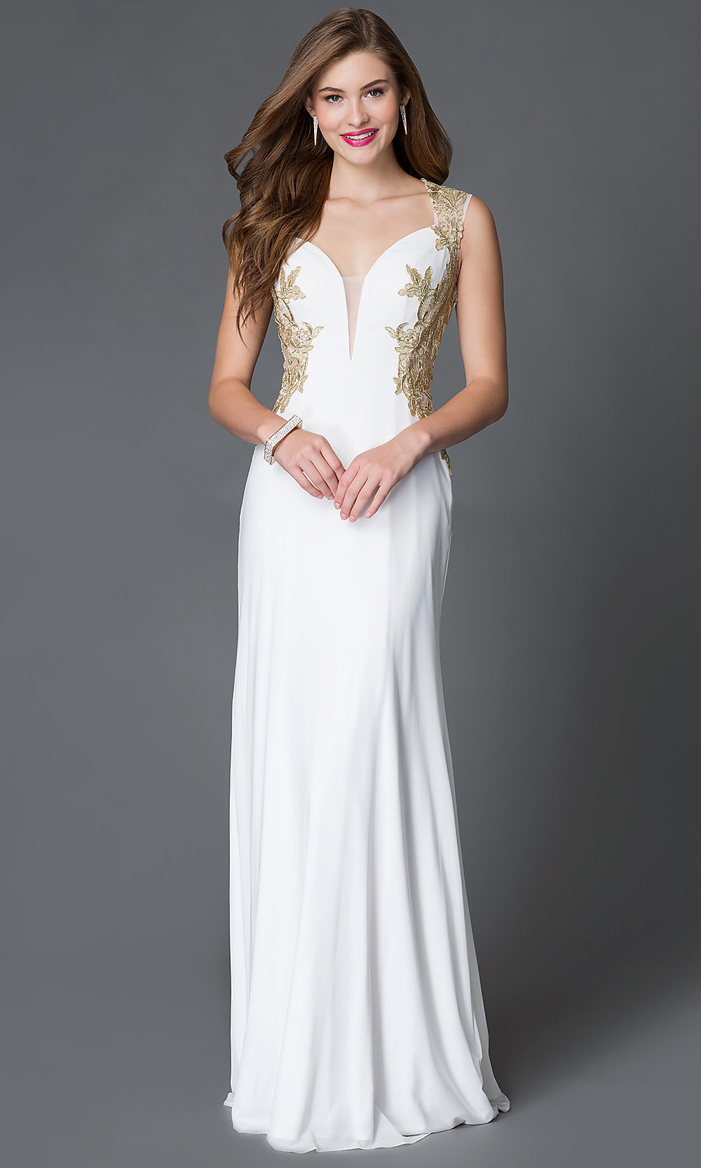 Illusion Embroidered Back Dress-PromGirl