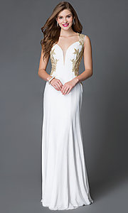 Image of long gold embroidered sides illusion back sweetheart dress  Style: JO-JVN-JVN33478 Front Image