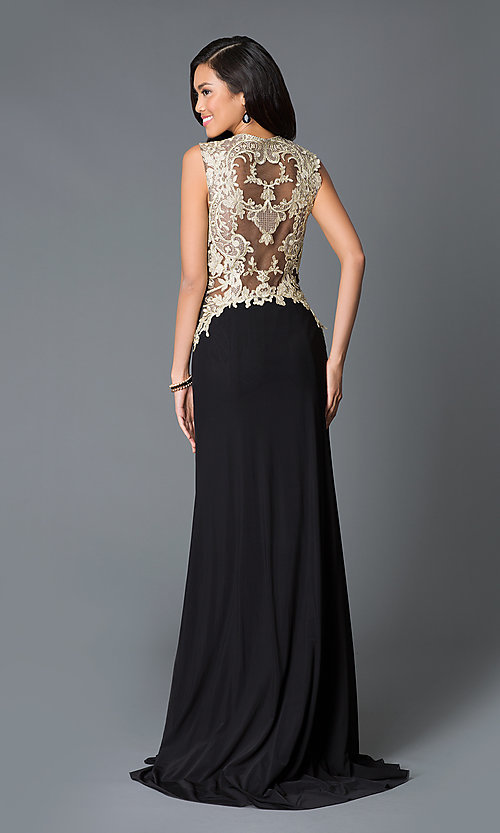 Image of long gold embroidered sides illusion back sweetheart dress  Style: JO-JVN-JVN33478 Back Image