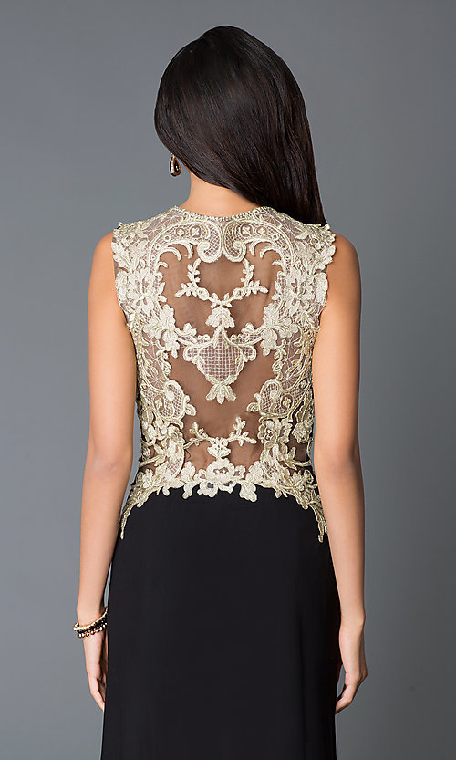 Image of long gold embroidered sides illusion back sweetheart dress  Style: JO-JVN-JVN33478 Detail Image 2