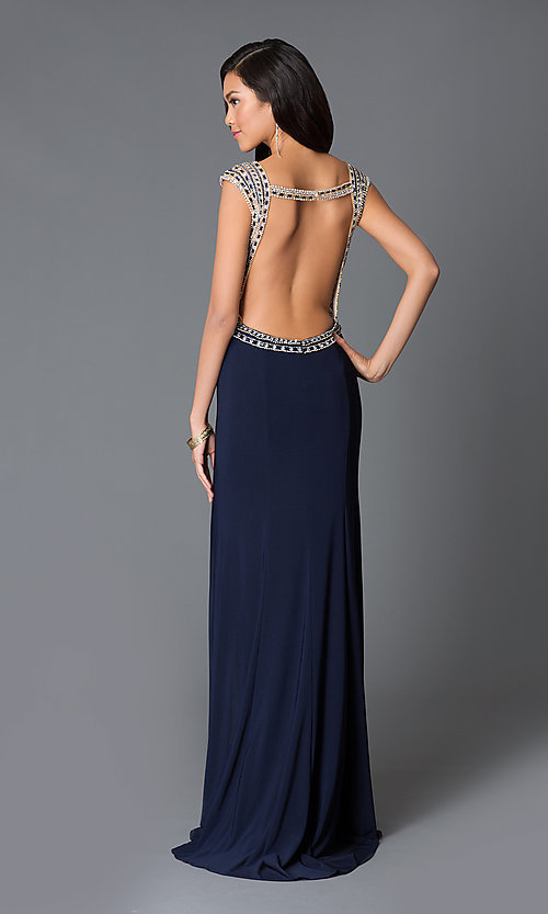 Image of long sleeveless open-back sweetheart dress Style: JO-JVN-JVN33860 Back Image