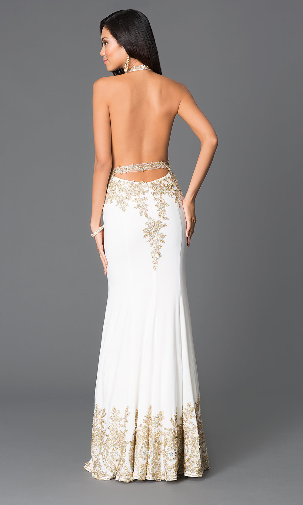 V-Neck Halter-Top Open-Back Dress - PromGirl