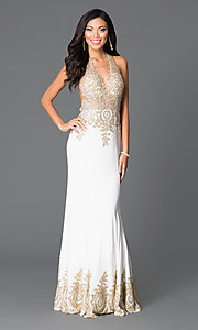 V-Neck Halter-Top Open-Back Dress by JVN by Jovani