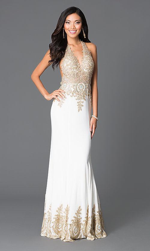 Image of v-neck halter-top open-back dress by JVN by Jovani. Style: JO-JVN-JVN31492 Front Image