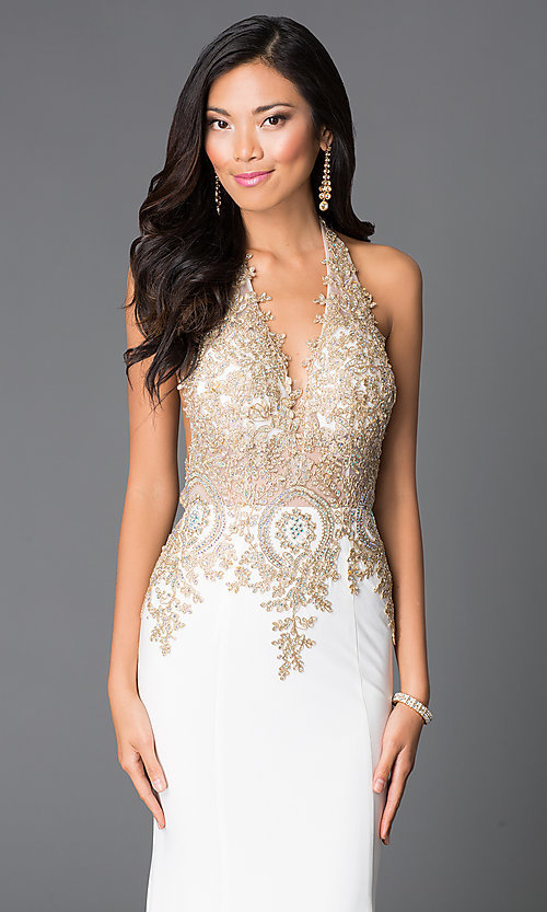 Image of v-neck halter-top open-back dress by JVN by Jovani. Style: JO-JVN-JVN31492 Detail Image 1