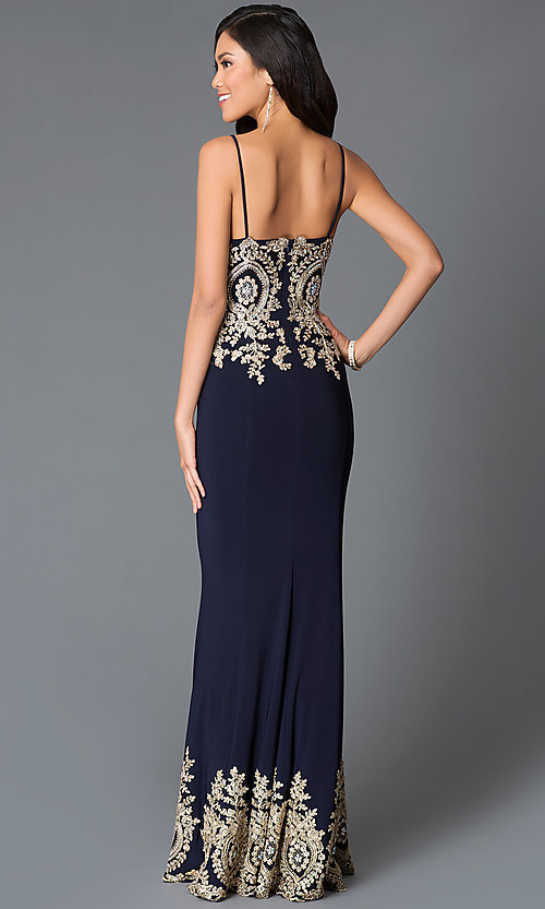 Image of long spaghetti strap sweetheart dress with beaded embroidered bodice Style: JO-JVN-JVN31491 Back Image