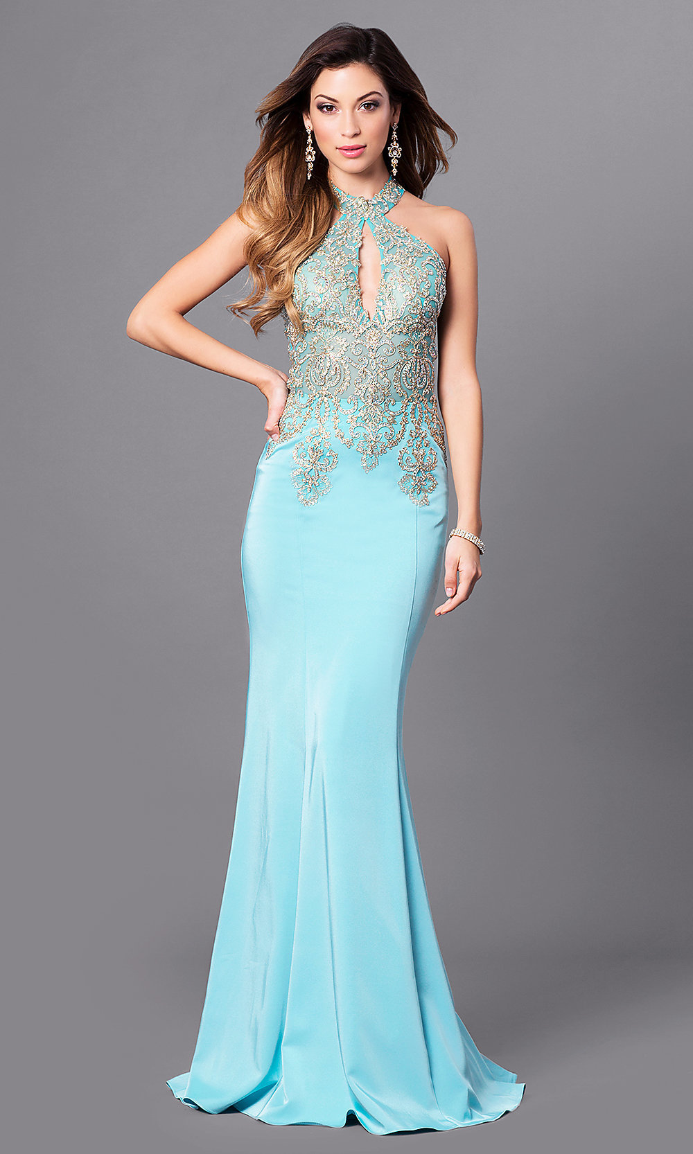 2e2901dde8 Long Lace High Halter Neck Evening Gown - PromGirl