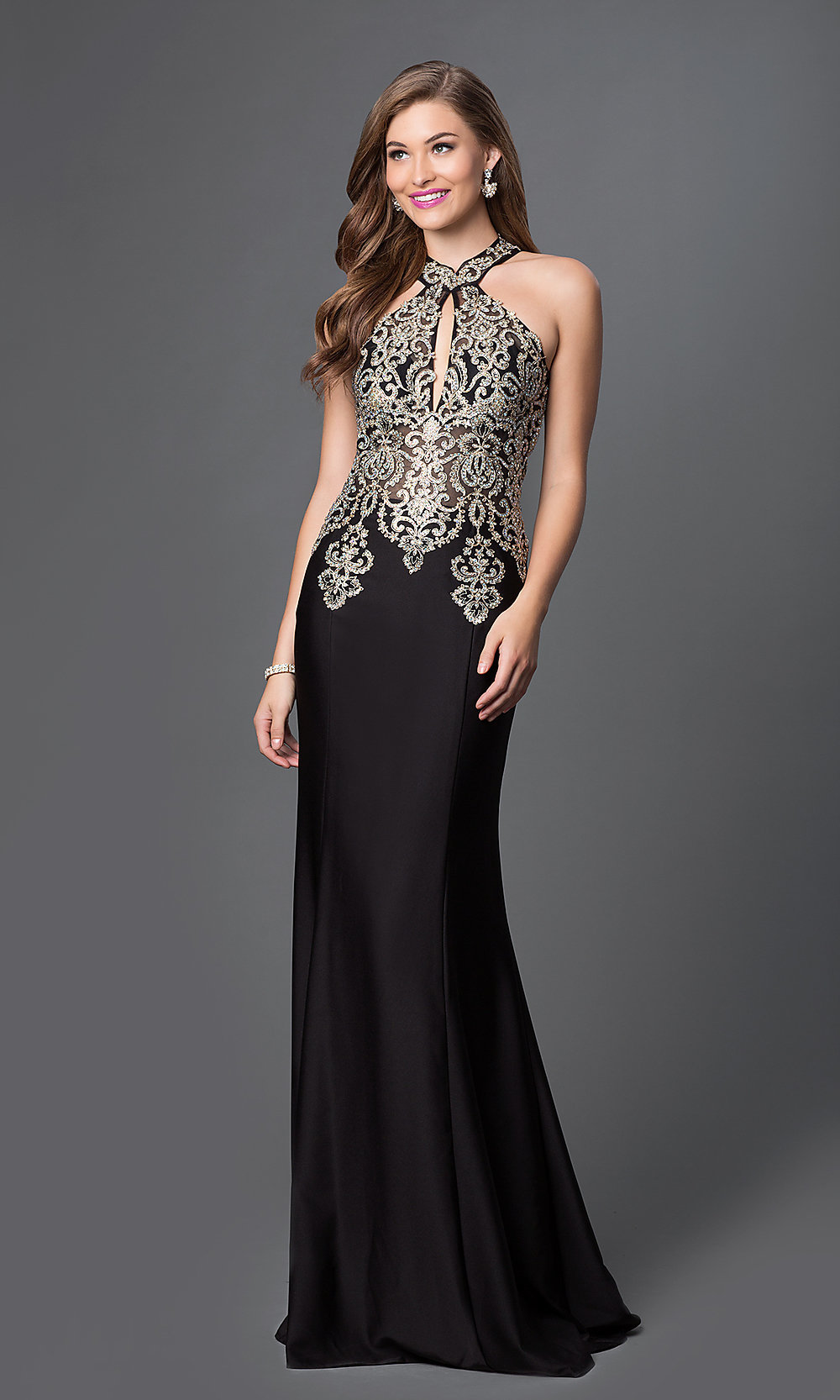 Long Lace High Halter Neck Evening Gown - PromGirl