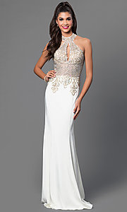 Image of long sleeveless high halter top lace embellished dress Style: JO-JVN-JVN33691 Detail Image 1