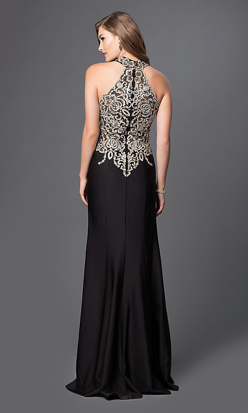 Image of long sleeveless high halter top lace embellished dress Style: JO-JVN-JVN33691 Back Image
