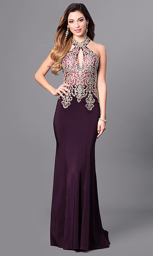Image of long sleeveless high halter top lace embellished dress Style: JO-JVN-JVN33691 Detail Image 3