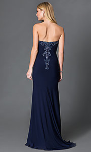 Image of navy blue long JVN by Jovani dress with beaded details.  Style: JO-JVN-JVN33745 Back Image