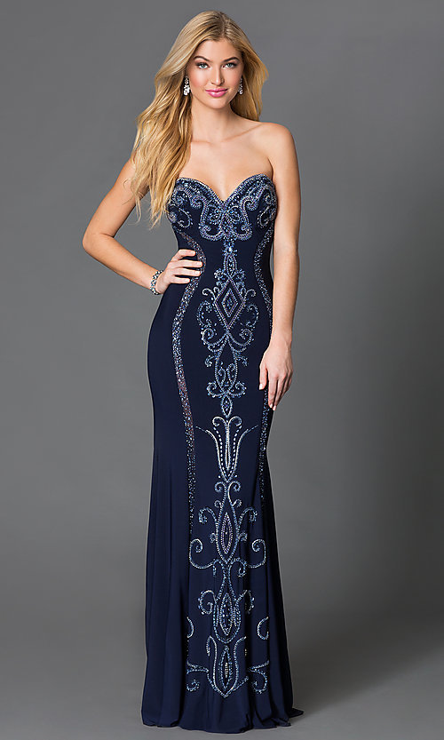 Image of navy blue long JVN by Jovani dress with beaded details.  Style: JO-JVN-JVN33745 Front Image