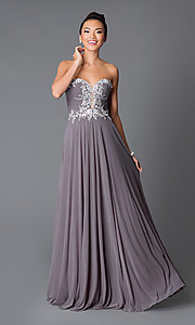 Prom Dress by JVN by Jovani with Ruched Beaded Bodice