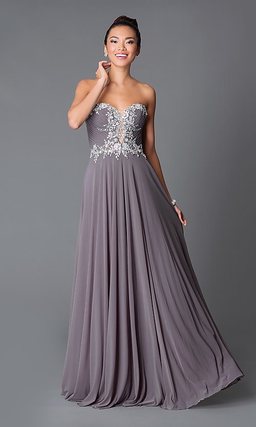 Image of long strapless sweetheart dress Style: JO-JVN-JVN33470 Front Image