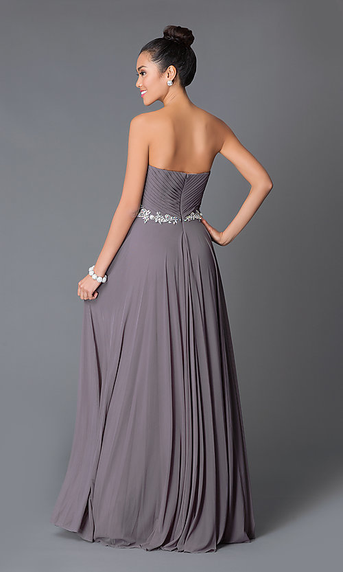 Image of long strapless sweetheart dress Style: JO-JVN-JVN33470 Back Image