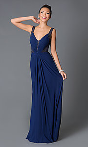 Long Navy Ruched Open-Back Dress by JVN by Jovani